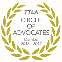 Logo Recognizing GriffithLaw's affiliation with Tennessee Trial Lawyers Association Circle of Advocates